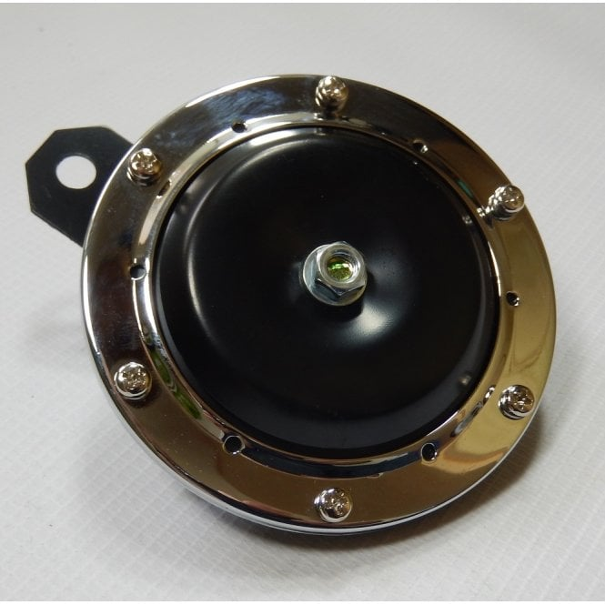 Universal Horn Chrome With Black Centre 12V for Classic Motorcycle 100mm Diameter