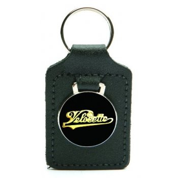 Velocette Leather Backed Key Fob With Enamel Badge & Velocette Logo