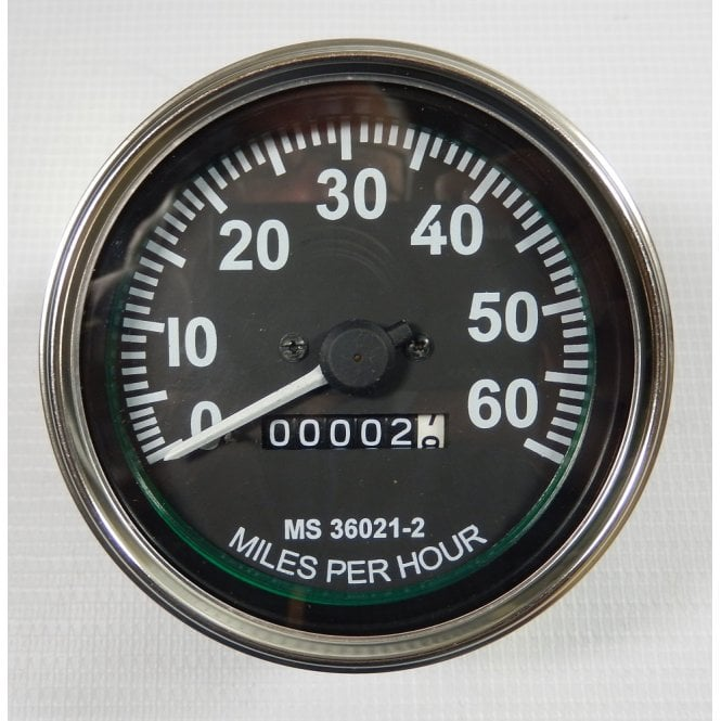 Willy Jeep Replacement Speedometer Black Face 0-60 MPH Fits M Series Models 1947-1955