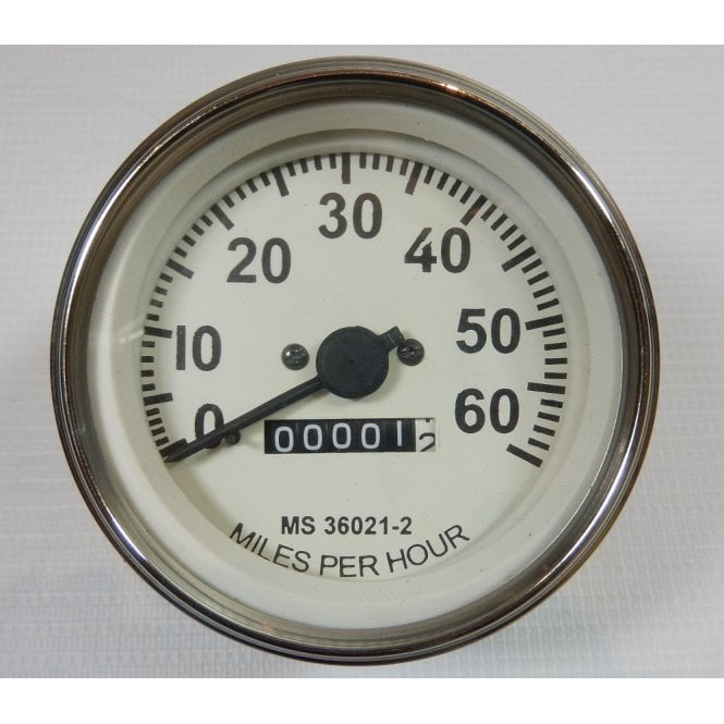 Willy Jeep Replacement Speedometer White Face 0-60 MPH Fits M Series Models 1947-1955
