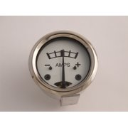 "Ammeter 8-0-8 White Face for Classic Motorcycle 1 3/4"" Diameter"